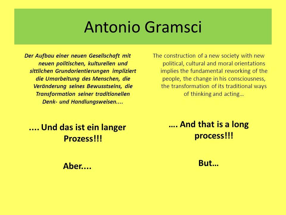 Antonio Gramsci Der Aufbau einer neuen Gesellschaft mit neuen politischen, kulturellen und sittlichen Grundorientierungen impliziert die Umarbeitung d
