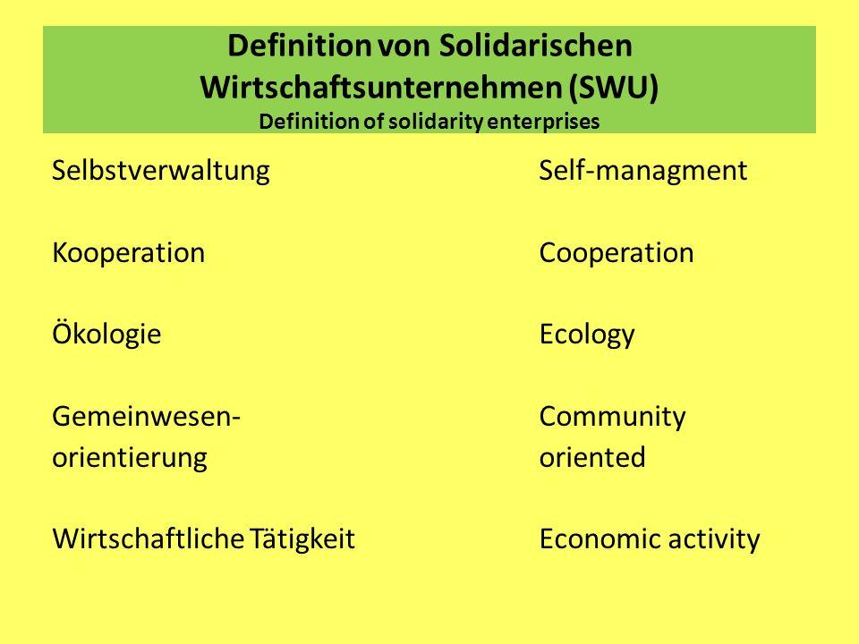 Definition von Solidarischen Wirtschaftsunternehmen (SWU) Definition of solidarity enterprises Selbstverwaltung Kooperation Ökologie Gemeinwesen- orie