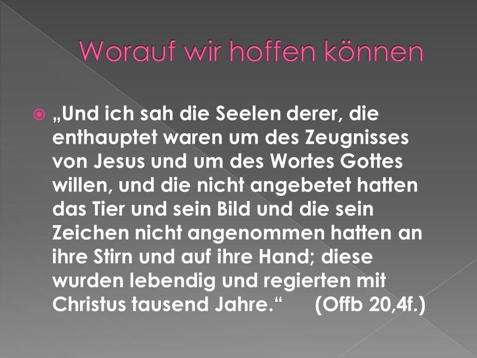 Und ich sah die Seelen derer, die enthauptet waren um des Zeugnisses von Jesus und um des Wortes Gottes willen, und die nicht angebetet hatten das Tie