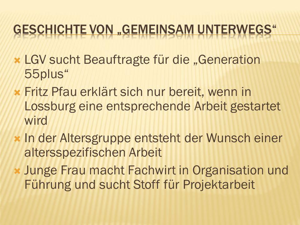 LGV sucht Beauftragte für die Generation 55plus Fritz Pfau erklärt sich nur bereit, wenn in Lossburg eine entsprechende Arbeit gestartet wird In der Altersgruppe entsteht der Wunsch einer altersspezifischen Arbeit Junge Frau macht Fachwirt in Organisation und Führung und sucht Stoff für Projektarbeit