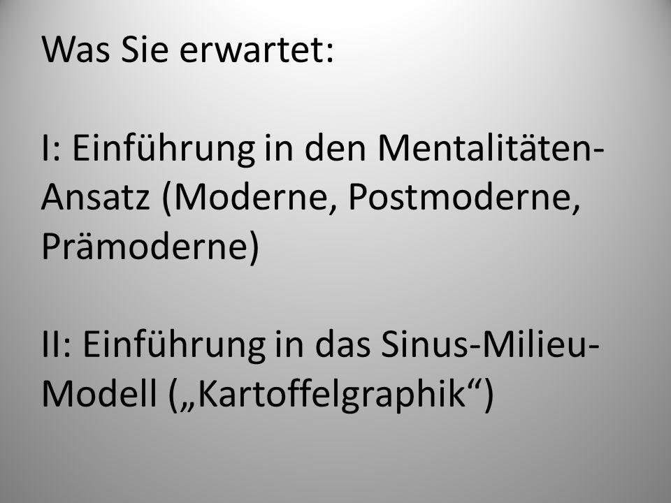 Was Sie erwartet: I: Einführung in den Mentalitäten- Ansatz (Moderne, Postmoderne, Prämoderne) II: Einführung in das Sinus-Milieu- Modell (Kartoffelgr