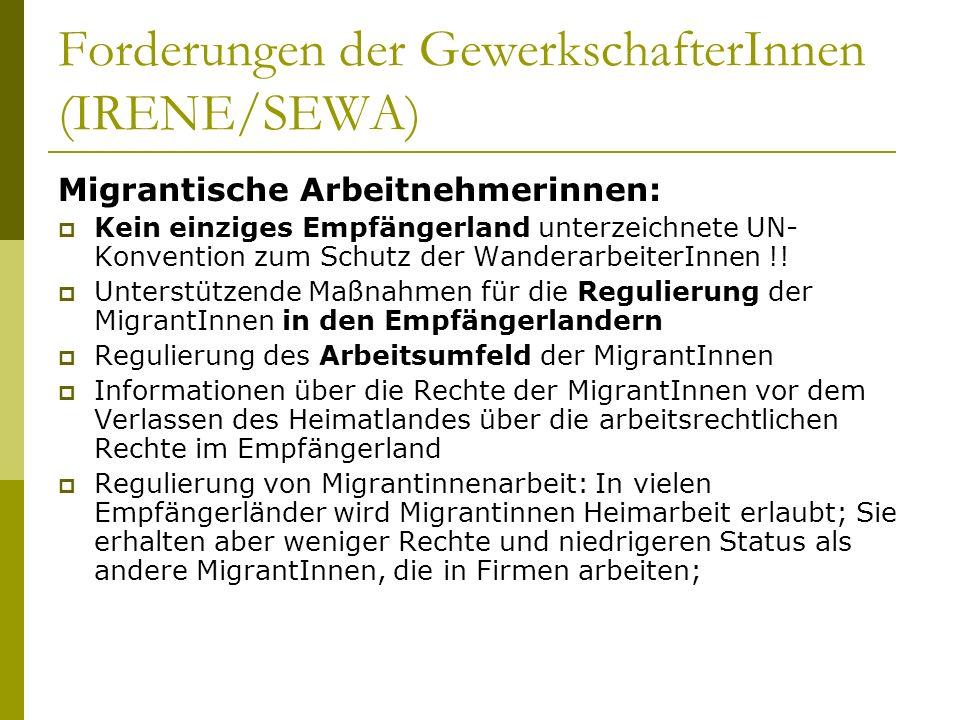 Forderungen der GewerkschafterInnen (IRENE/SEWA) Migrantische Arbeitnehmerinnen: Kein einziges Empfängerland unterzeichnete UN- Konvention zum Schutz der WanderarbeiterInnen !.