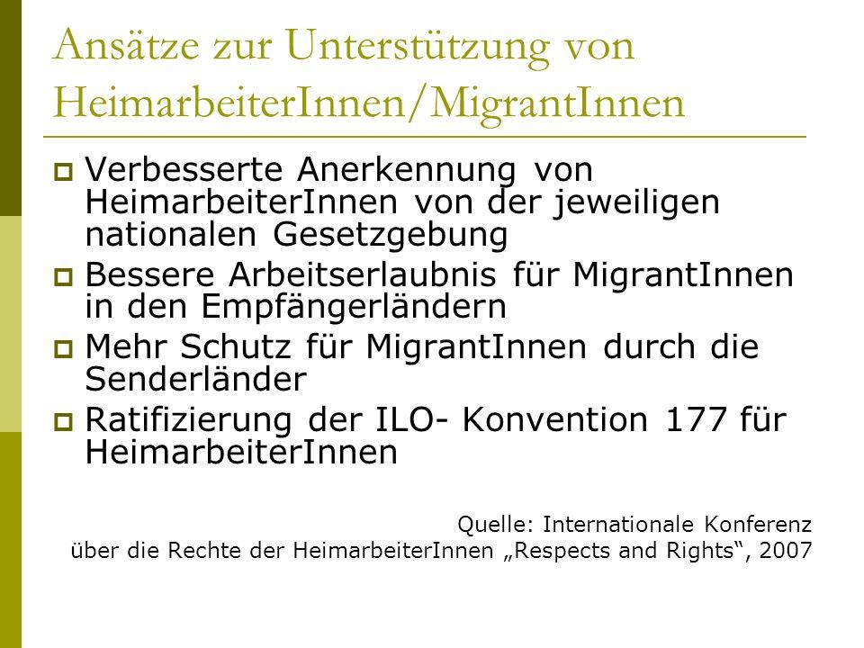 Ansätze zur Unterstützung von HeimarbeiterInnen/MigrantInnen Verbesserte Anerkennung von HeimarbeiterInnen von der jeweiligen nationalen Gesetzgebung Bessere Arbeitserlaubnis für MigrantInnen in den Empfängerländern Mehr Schutz für MigrantInnen durch die Senderländer Ratifizierung der ILO- Konvention 177 für HeimarbeiterInnen Quelle: Internationale Konferenz über die Rechte der HeimarbeiterInnen Respects and Rights, 2007