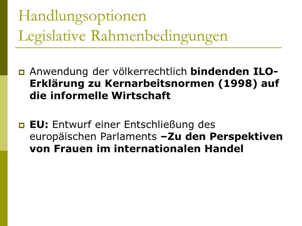 Handlungsoptionen Legislative Rahmenbedingungen Anwendung der völkerrechtlich bindenden ILO- Erklärung zu Kernarbeitsnormen (1998) auf die informelle Wirtschaft EU: Entwurf einer Entschließung des europäischen Parlaments –Zu den Perspektiven von Frauen im internationalen Handel