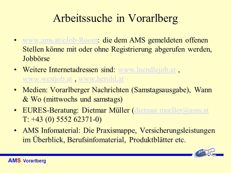 AMS Vorarlberg Arbeitssuche in Vorarlberg www.ams.at/eJob-Room: die dem AMS gemeldeten offenen Stellen könne mit oder ohne Registrierung abgerufen wer