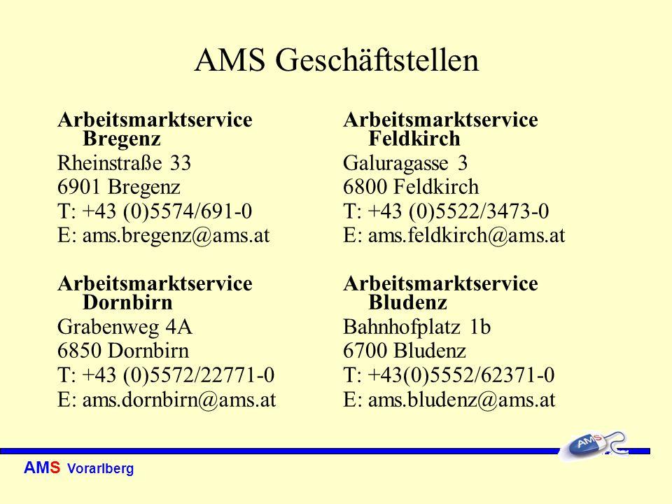 AMS Vorarlberg AMS Geschäftstellen Arbeitsmarktservice Bregenz Rheinstraße 33 6901 Bregenz T: +43 (0)5574/691-0 E: ams.bregenz@ams.at Arbeitsmarktserv