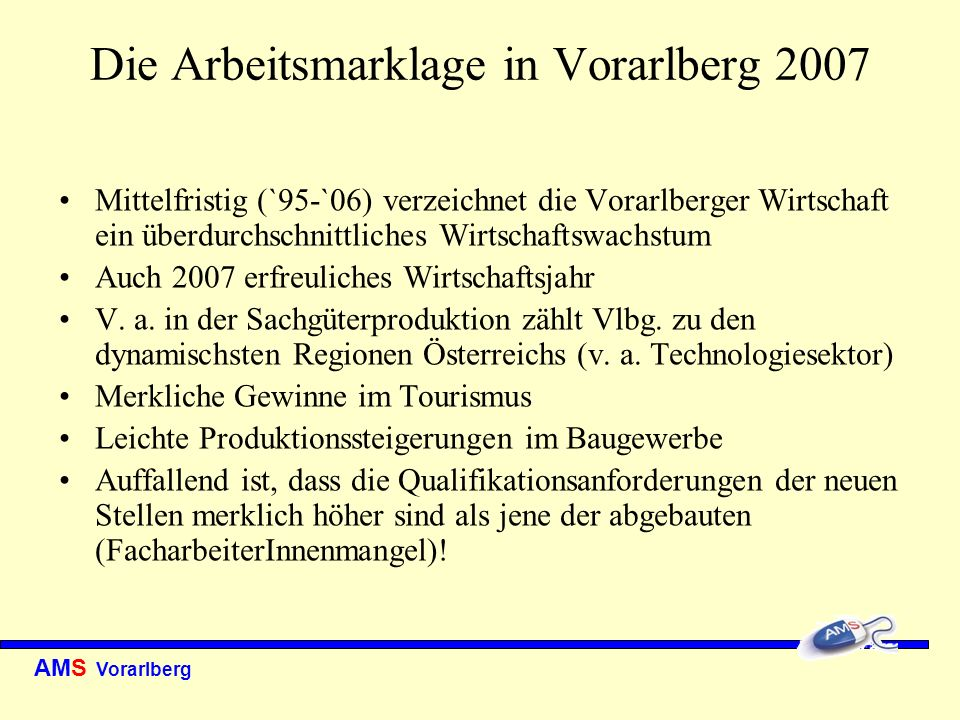 AMS Vorarlberg Unselbständig Beschäftige 2007 Zahl der unselbständig Beschäftigten erhöht sich im Jahresdurchschnitt im Vergleich zu 2006 auf 143.929 (79.982 Männer und 63.947 Frauen) Plus (+1,9%) verteilt sich auf Frauen mit +2,2% und Männern mit +1,7% Beschäftigungsquote bei den Frauen nimmt weiterhin zu Allerdings basiert der Anstieg fast ausschließlich auf dem enormen Anstieg von Teilzeit und geringfügig beschäftigten Frauen.