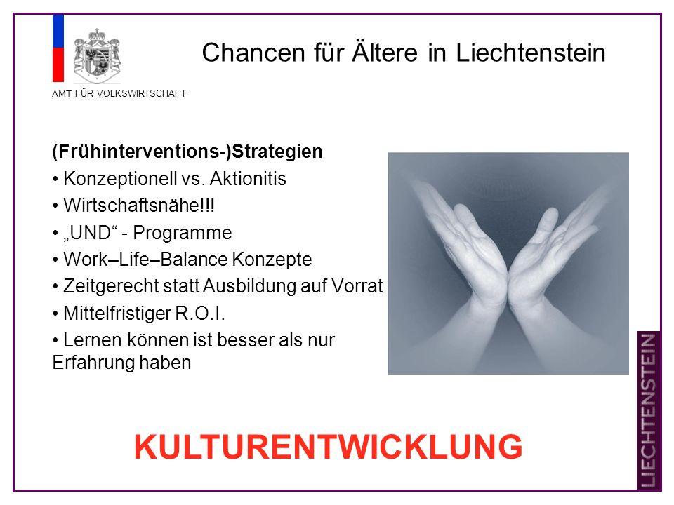 AMT FÜR VOLKSWIRTSCHAFT Chancen für Ältere in Liechtenstein (Frühinterventions-)Strategien Konzeptionell vs.