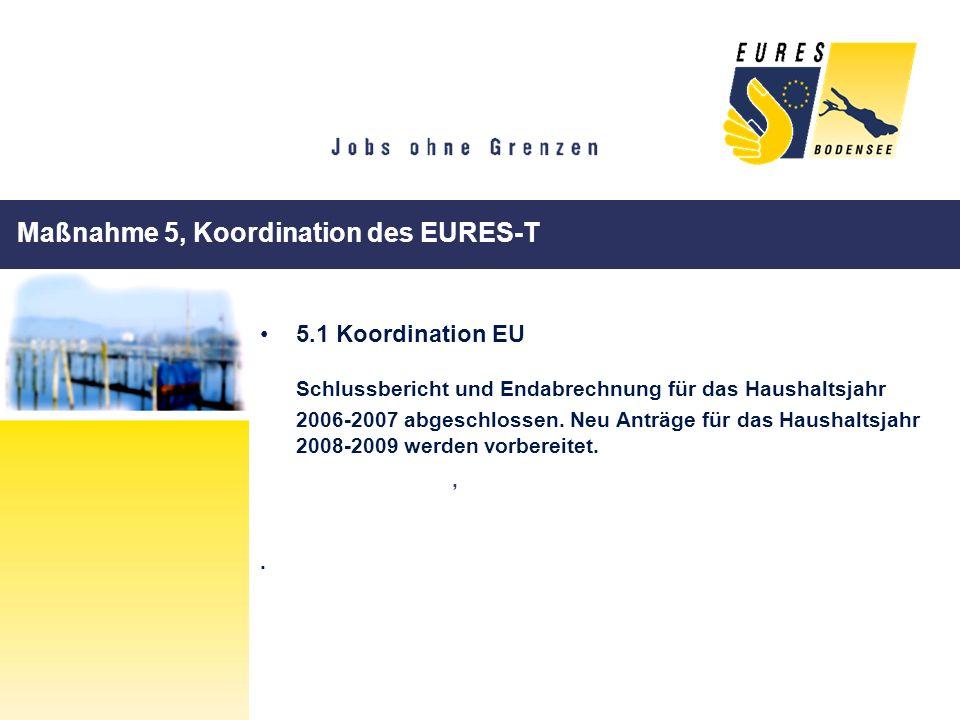 Maßnahme 5, Koordination des EURES-T 5.1 Koordination EU Schlussbericht und Endabrechnung für das Haushaltsjahr 2006-2007 abgeschlossen. Neu Anträge f