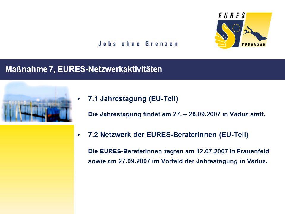 Maßnahme 7, EURES-Netzwerkaktivitäten 7.1 Jahrestagung (EU-Teil) Die Jahrestagung findet am 27. – 28.09.2007 in Vaduz statt. 7.2 Netzwerk der EURES-Be