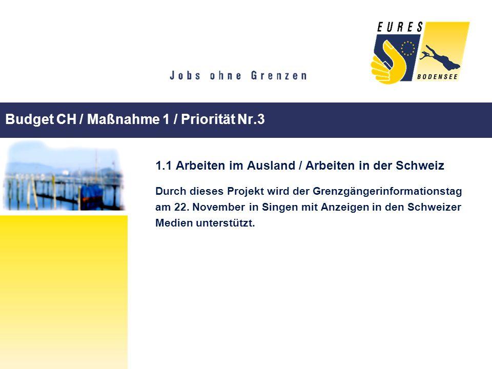 Budget CH / Maßnahme 1 / Priorität Nr.3 1.1 Arbeiten im Ausland / Arbeiten in der Schweiz Durch dieses Projekt wird der Grenzgängerinformationstag am