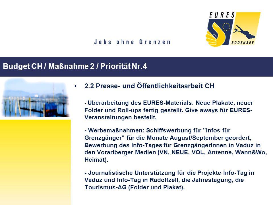 Budget CH / Maßnahme 2 / Priorität Nr.4 2.2 Presse- und Öffentlichkeitsarbeit CH - Überarbeitung des EURES-Materials. Neue Plakate, neuer Folder und R