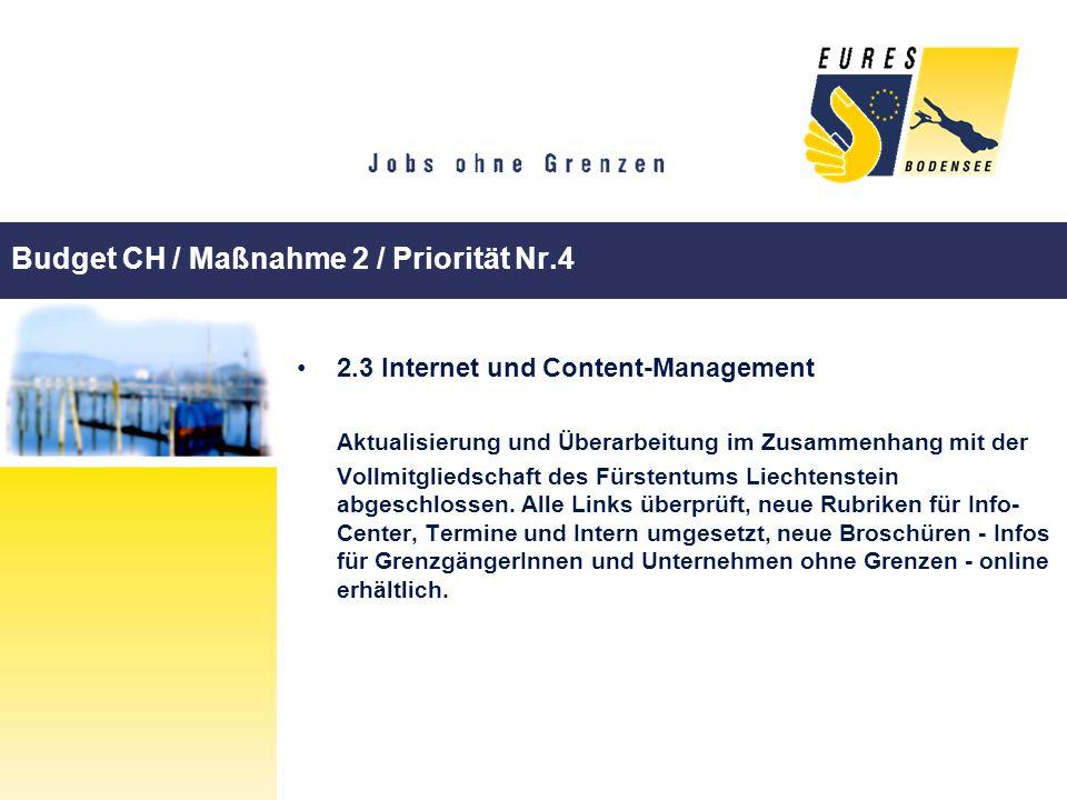 Budget CH / Maßnahme 2 / Priorität Nr.4 2.3 Internet und Content-Management Aktualisierung und Überarbeitung im Zusammenhang mit der Vollmitgliedschaf