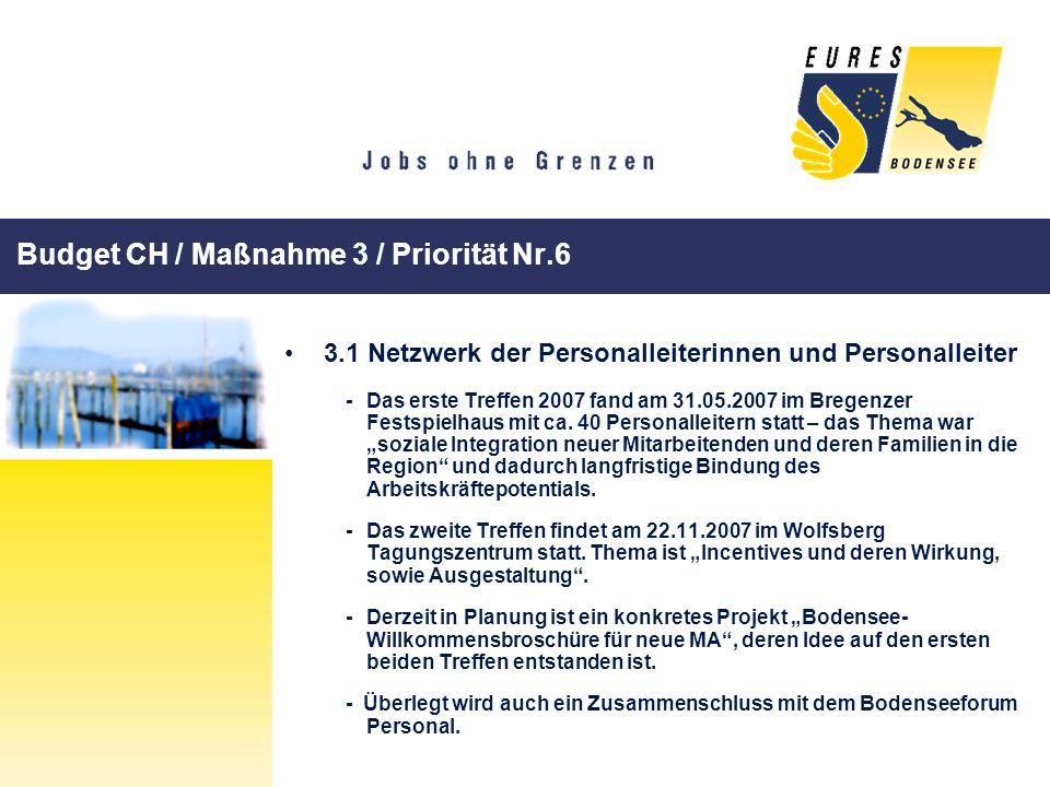 Budget CH / Maßnahme 3 / Priorität Nr.6 3.1 Netzwerk der Personalleiterinnen und Personalleiter -Das erste Treffen 2007 fand am 31.05.2007 im Bregenze