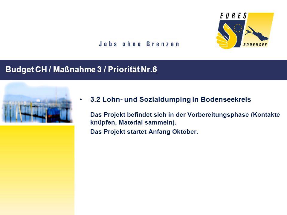Budget CH / Maßnahme 3 / Priorität Nr.6 3.2 Lohn- und Sozialdumping in Bodenseekreis Das Projekt befindet sich in der Vorbereitungsphase (Kontakte knü