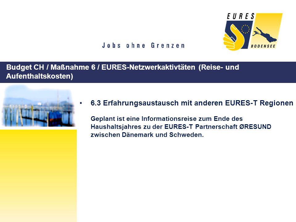 Budget CH / Maßnahme 6 / EURES-Netzwerkaktivtäten (Reise- und Aufenthaltskosten) 6.3 Erfahrungsaustausch mit anderen EURES-T Regionen Geplant ist eine