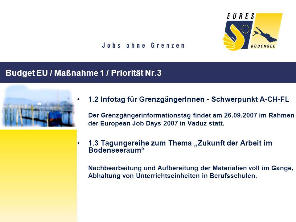Budget EU / Maßnahme 1 / Priorität Nr.3 1.2 Infotag für GrenzgängerInnen - Schwerpunkt A-CH-FL Der Grenzgängerinformationstag findet am 26.09.2007 im
