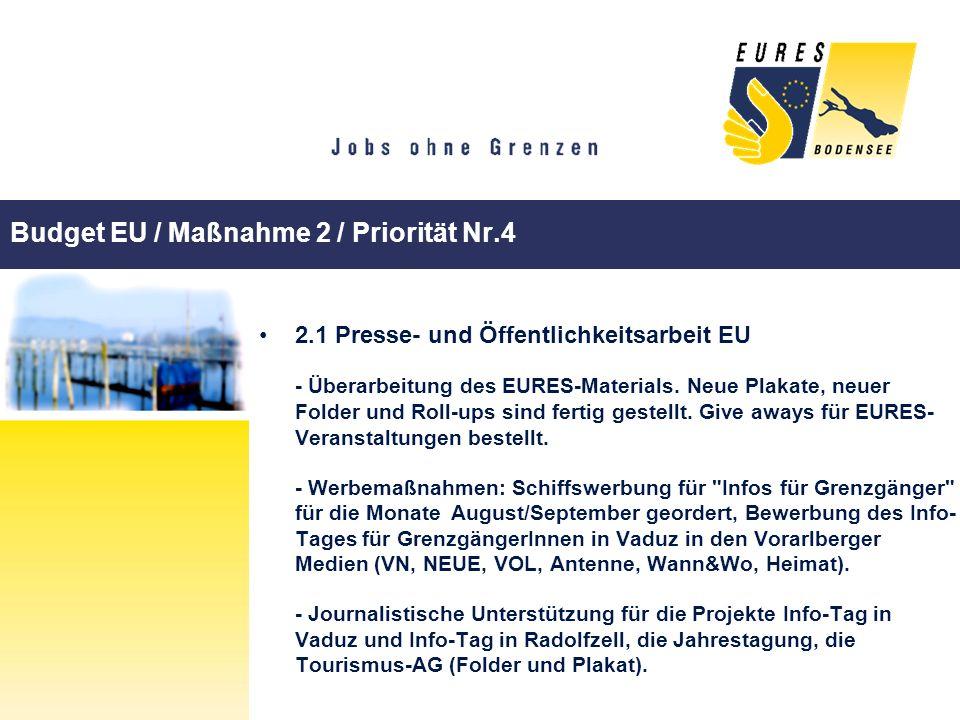 Budget EU / Maßnahme 2 / Priorität Nr.4 2.1 Presse- und Öffentlichkeitsarbeit EU - Überarbeitung des EURES-Materials. Neue Plakate, neuer Folder und R