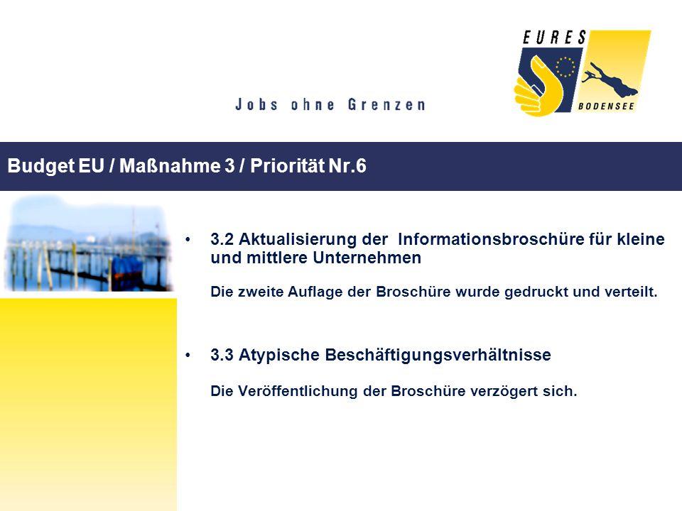 Budget EU / Maßnahme 3 / Priorität Nr.6 3.2 Aktualisierung der Informationsbroschüre für kleine und mittlere Unternehmen Die zweite Auflage der Brosch