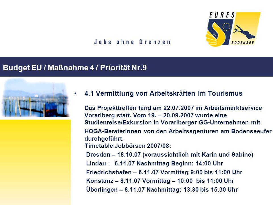 Budget EU / Maßnahme 4 / Priorität Nr.9 4.1 Vermittlung von Arbeitskräften im Tourismus Das Projekttreffen fand am 22.07.2007 im Arbeitsmarktservice V