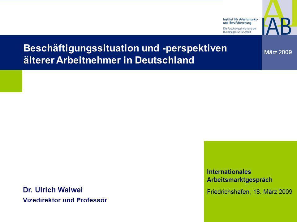Institut für Arbeitsmarkt- und Berufsforschung 12 Friedrichshafen 18.03.09 12 Quelle: IAB-Kurzbericht 11/2005 Altersstruktur des Erwerbspersonenpotenzials bis 2050 - Personen in Mio.