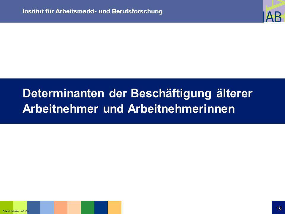 Institut für Arbeitsmarkt- und Berufsforschung 18 Friedrichshafen 18.03.09 18 Determinanten der Beschäftigung älterer Arbeitnehmer und Arbeitnehmerinn