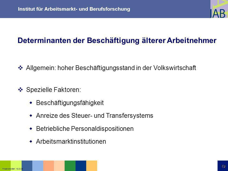 Institut für Arbeitsmarkt- und Berufsforschung 19 Friedrichshafen 18.03.09 19 Allgemein: hoher Beschäftigungsstand in der Volkswirtschaft Spezielle Fa
