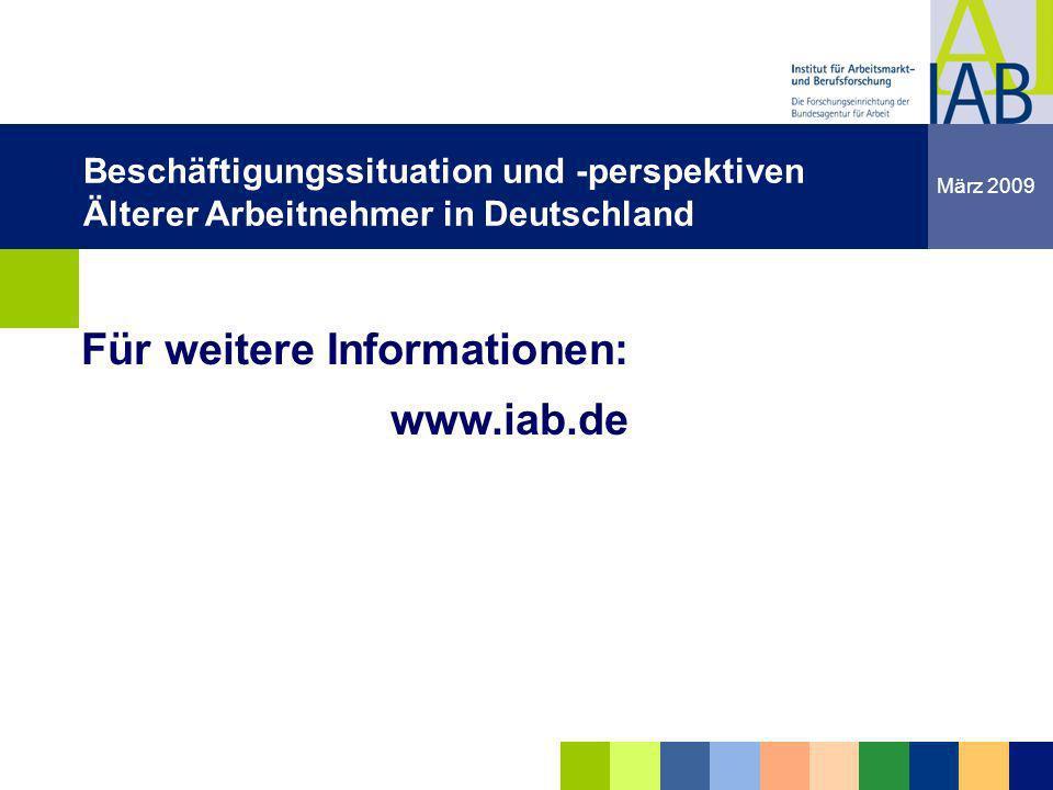 Institut für Arbeitsmarkt- und Berufsforschung 30 Friedrichshafen 18.03.09 dgdg Für weitere Informationen: www.iab.de dgdg März 2009 Beschäftigungssit
