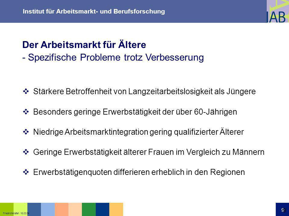 Institut für Arbeitsmarkt- und Berufsforschung 9 Friedrichshafen 18.03.09 9 Der Arbeitsmarkt für Ältere - Spezifische Probleme trotz Verbesserung Stär