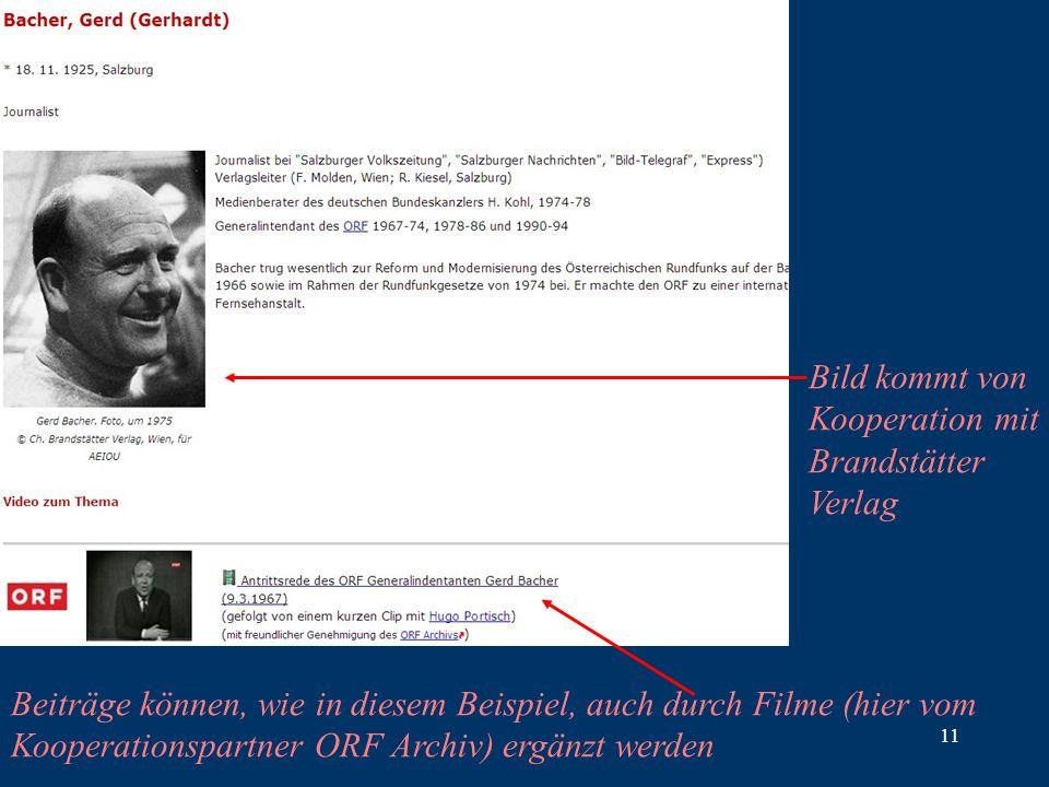 11 Beiträge können, wie in diesem Beispiel, auch durch Filme (hier vom Kooperationspartner ORF Archiv) ergänzt werden Bild kommt von Kooperation mit Brandstätter Verlag
