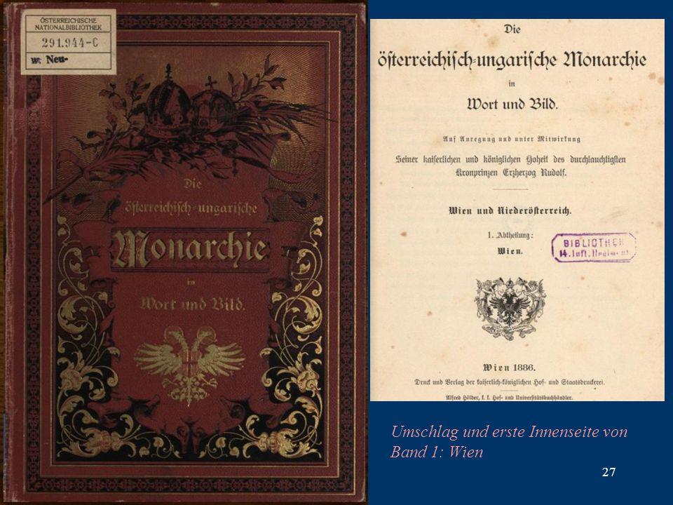 27 Umschlag und erste Innenseite von Band 1: Wien