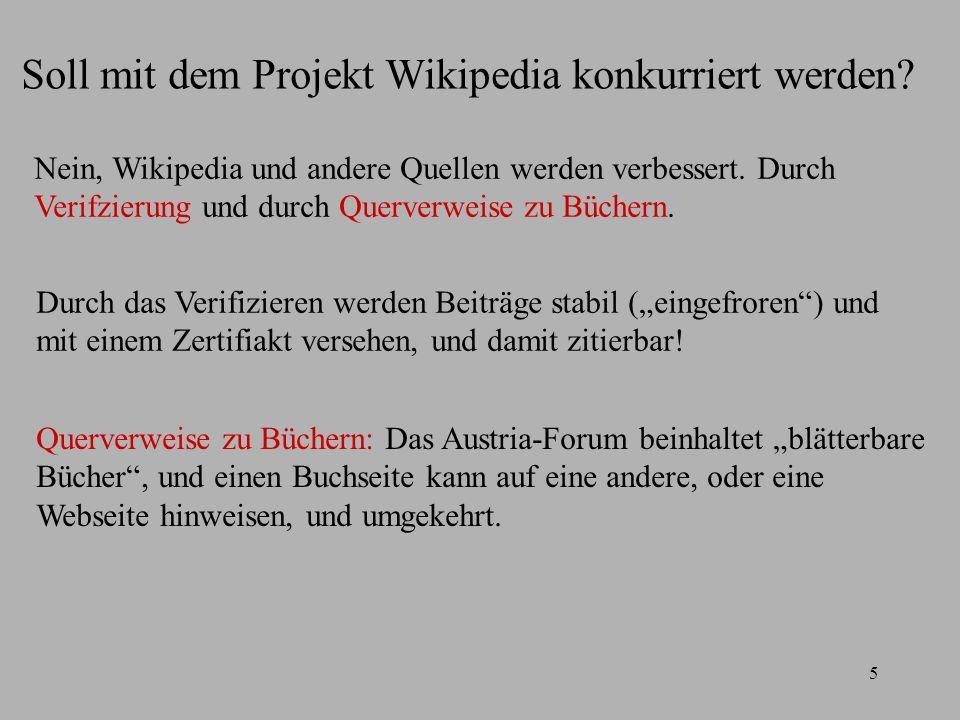5 Soll mit dem Projekt Wikipedia konkurriert werden.