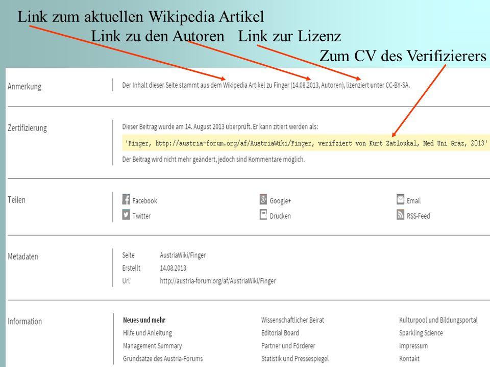 11 Link zum aktuellen Wikipedia Artikel Link zu den Autoren Link zur Lizenz Zum CV des Verifizierers