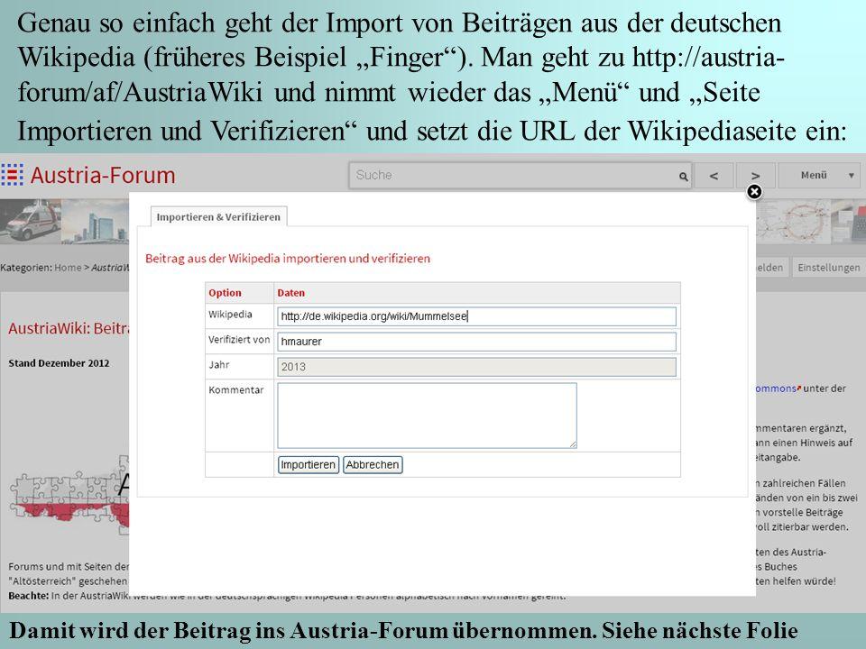 16 Genau so einfach geht der Import von Beiträgen aus der deutschen Wikipedia (früheres Beispiel Finger).