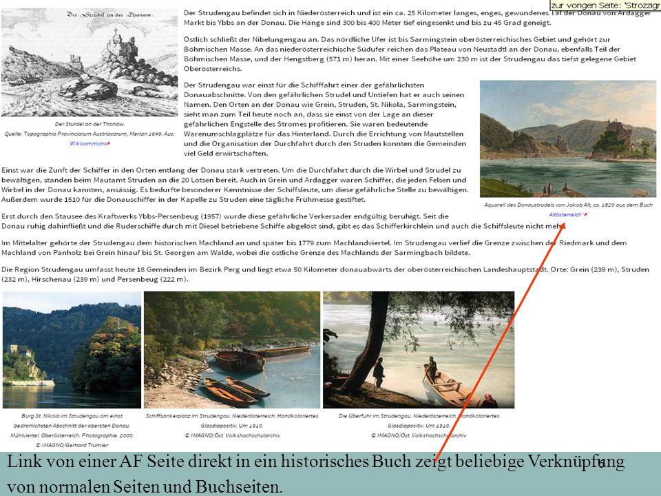 6 Link von einer AF Seite direkt in ein historisches Buch zeigt beliebige Verknüpfung von normalen Seiten und Buchseiten.