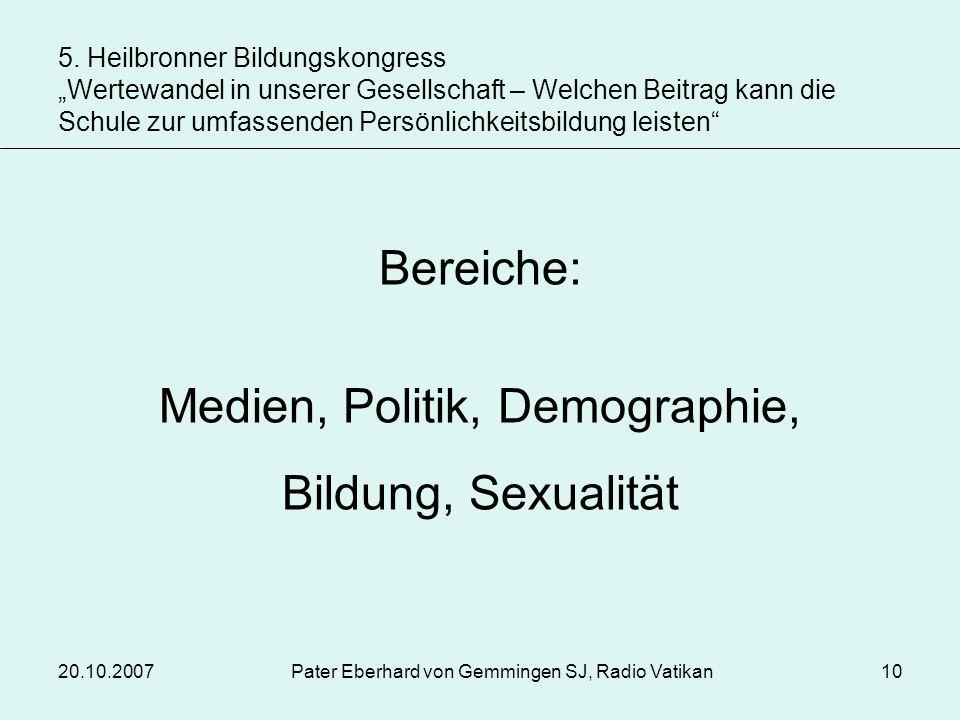 20.10.2007Pater Eberhard von Gemmingen SJ, Radio Vatikan10 Bereiche: Medien, Politik, Demographie, Bildung, Sexualität 5. Heilbronner Bildungskongress