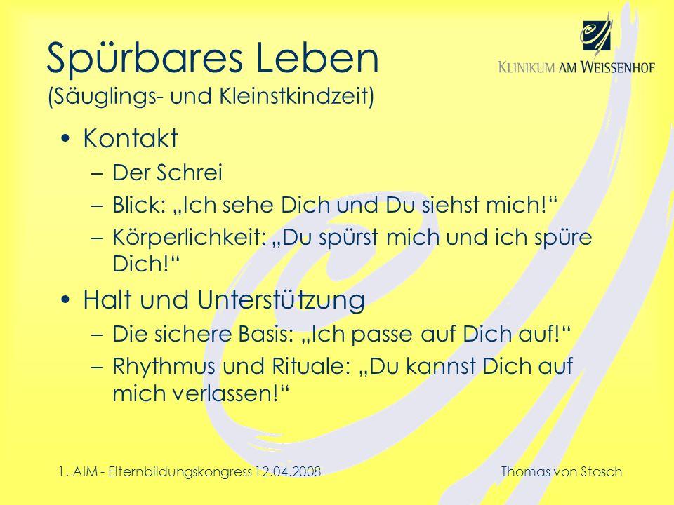1. AIM - Elternbildungskongress 12.04.2008Thomas von Stosch Spürbares Leben (Säuglings- und Kleinstkindzeit) Kontakt –Der Schrei –Blick: Ich sehe Dich