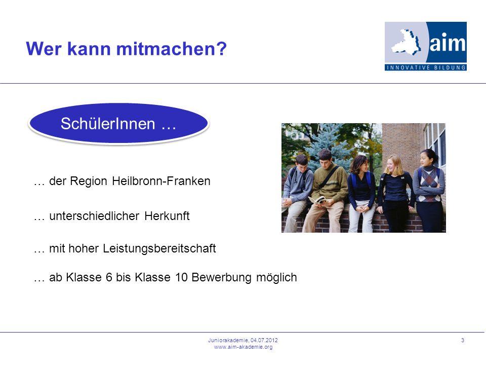 3 Wer kann mitmachen? … der Region Heilbronn-Franken … unterschiedlicher Herkunft … mit hoher Leistungsbereitschaft … ab Klasse 6 bis Klasse 10 Bewerb