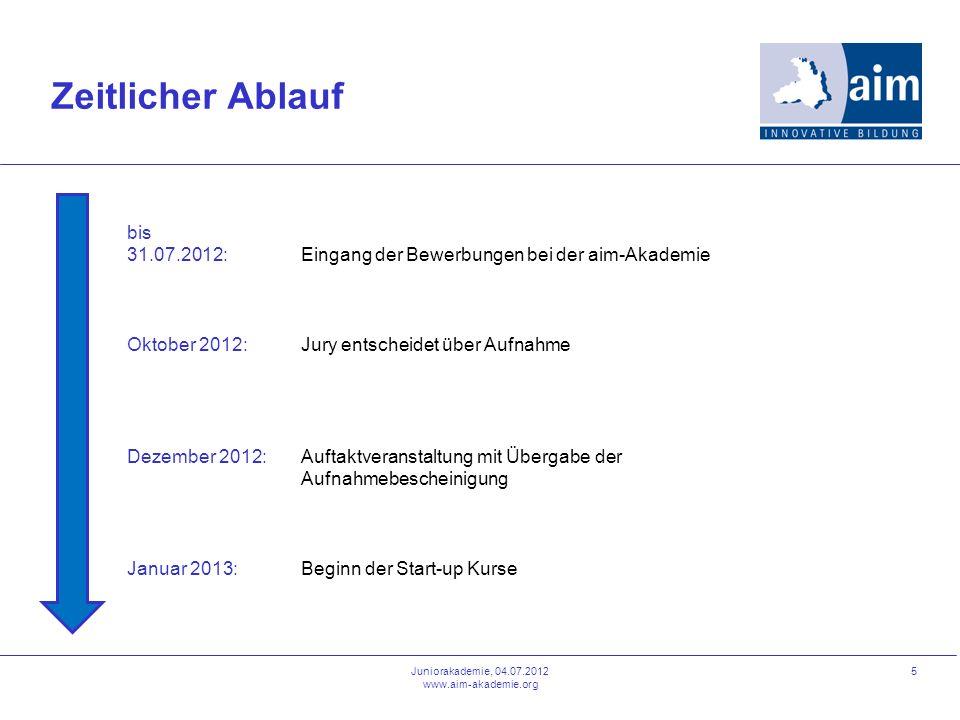 5 Zeitlicher Ablauf bis 31.07.2012: Oktober 2012: Dezember 2012: Januar 2013: Eingang der Bewerbungen bei der aim-Akademie Jury entscheidet über Aufna