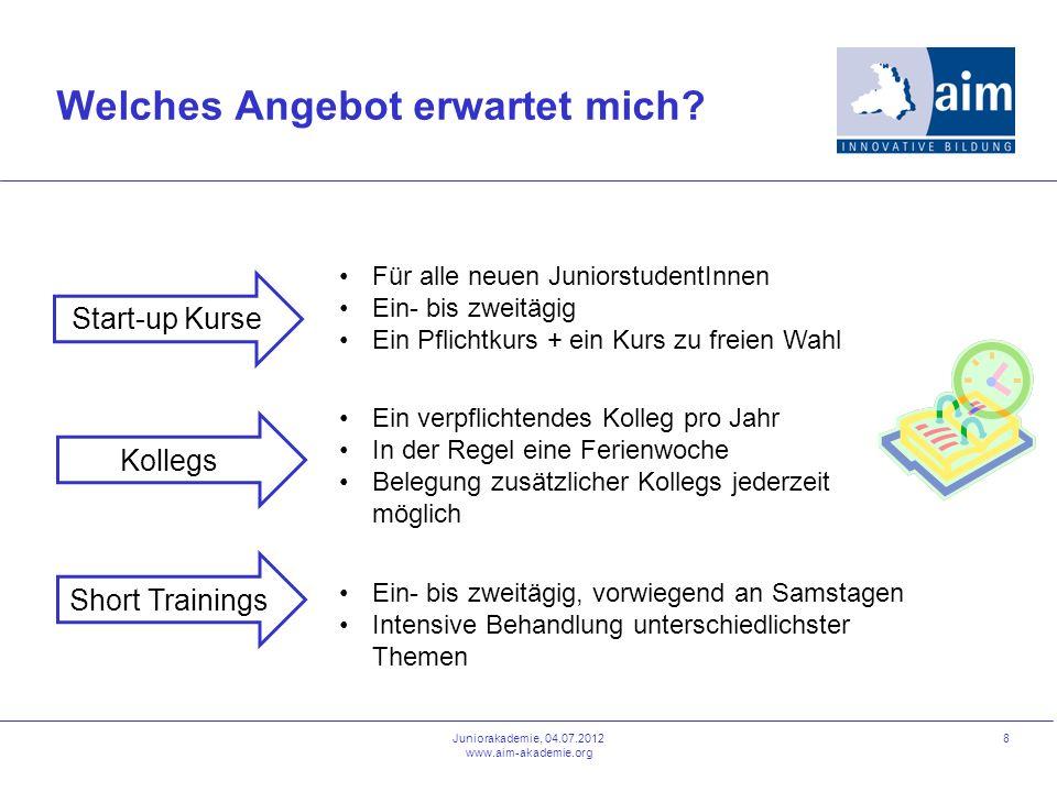 8 Welches Angebot erwartet mich? Juniorakademie, 04.07.2012 www.aim-akademie.org Short Trainings Für alle neuen JuniorstudentInnen Ein- bis zweitägig
