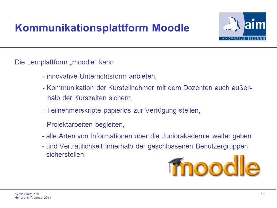 Kommunikationsplattform Moodle Die Lernplattform moodle kann - innovative Unterrichtsform anbieten, - Kommunikation der Kursteilnehmer mit dem Dozente