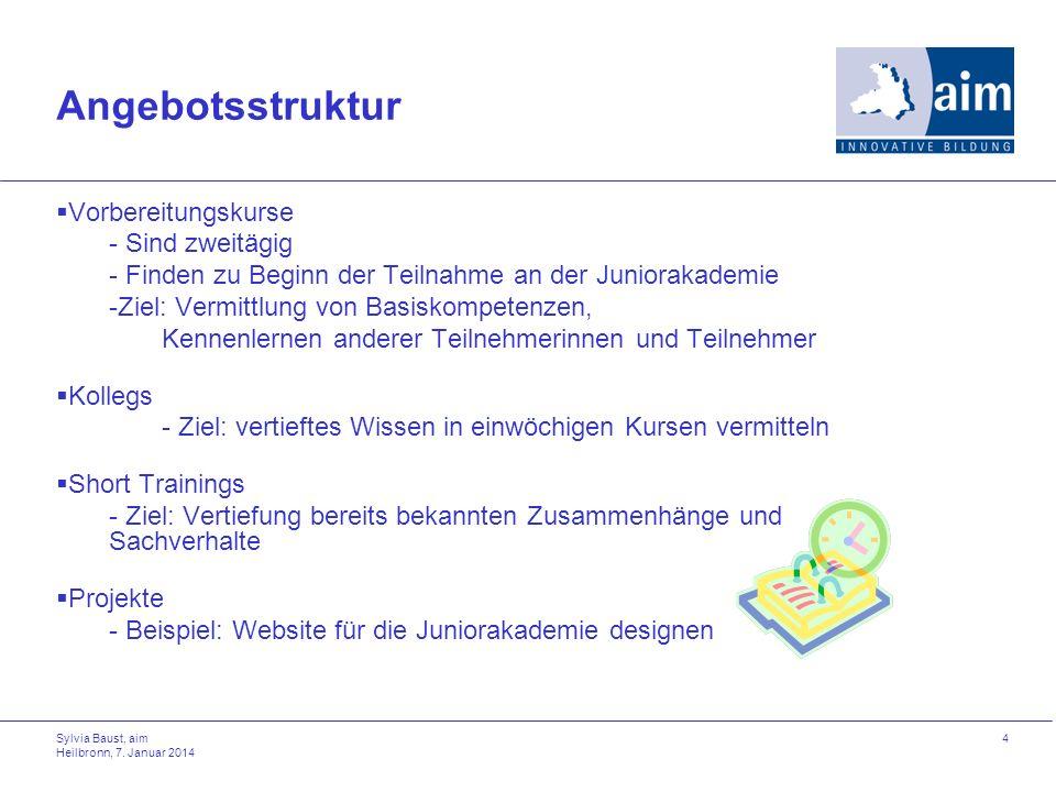 Sylvia Baust, aim Heilbronn, 7. Januar 2014 4 Angebotsstruktur Vorbereitungskurse - Sind zweitägig - Finden zu Beginn der Teilnahme an der Juniorakade