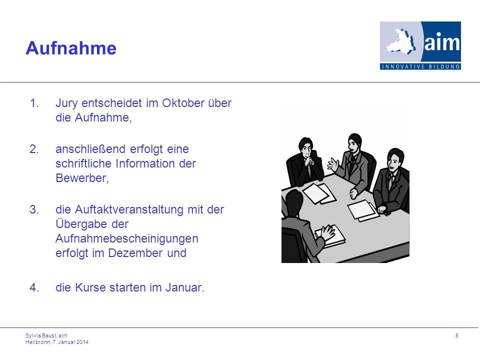 Sylvia Baust, aim Heilbronn, 7. Januar 2014 8 Aufnahme 1.Jury entscheidet im Oktober über die Aufnahme, 2.anschließend erfolgt eine schriftliche Infor