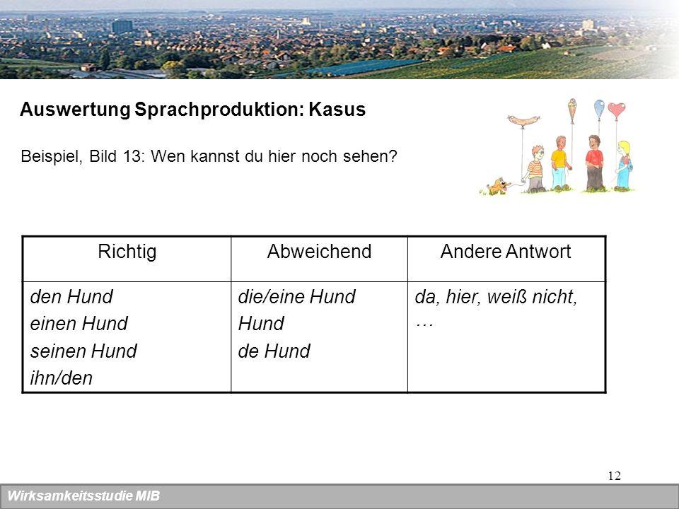 12 Auswertung Sprachproduktion: Kasus Beispiel, Bild 13: Wen kannst du hier noch sehen? RichtigAbweichendAndere Antwort den Hund einen Hund seinen Hun