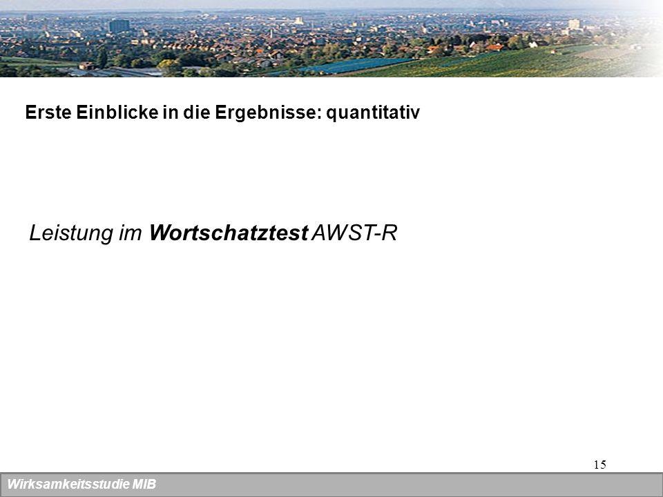 15 Wirksamkeitsstudie MIB Erste Einblicke in die Ergebnisse: quantitativ Leistung im Wortschatztest AWST-R
