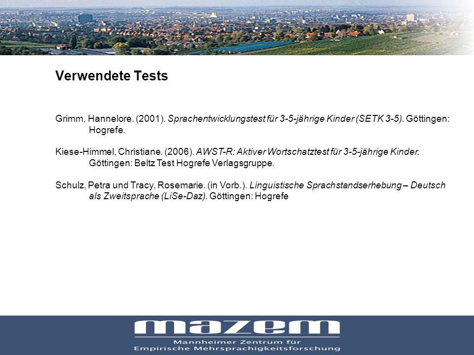 27 Verwendete Tests Grimm, Hannelore. (2001). Sprachentwicklungstest für 3-5-jährige Kinder (SETK 3-5). Göttingen: Hogrefe. Kiese-Himmel, Christiane.