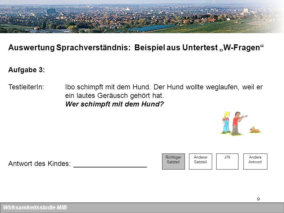 9 Auswertung Sprachverständnis: Beispiel aus Untertest W-Fragen Aufgabe 3: TestleiterIn: Ibo schimpft mit dem Hund. Der Hund wollte weglaufen, weil er