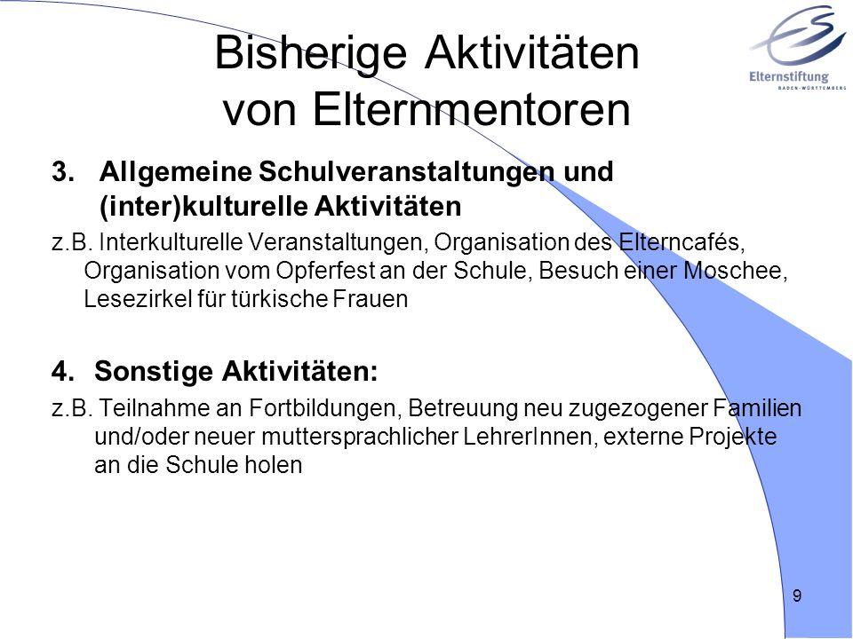 Bisherige Aktivitäten von Elternmentoren 3.Allgemeine Schulveranstaltungen und (inter)kulturelle Aktivitäten z.B. Interkulturelle Veranstaltungen, Org