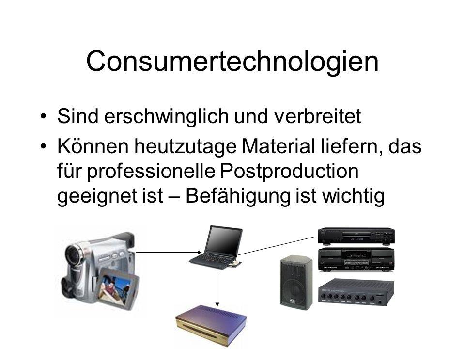 Consumertechnologien Sind erschwinglich und verbreitet Können heutzutage Material liefern, das für professionelle Postproduction geeignet ist – Befähigung ist wichtig