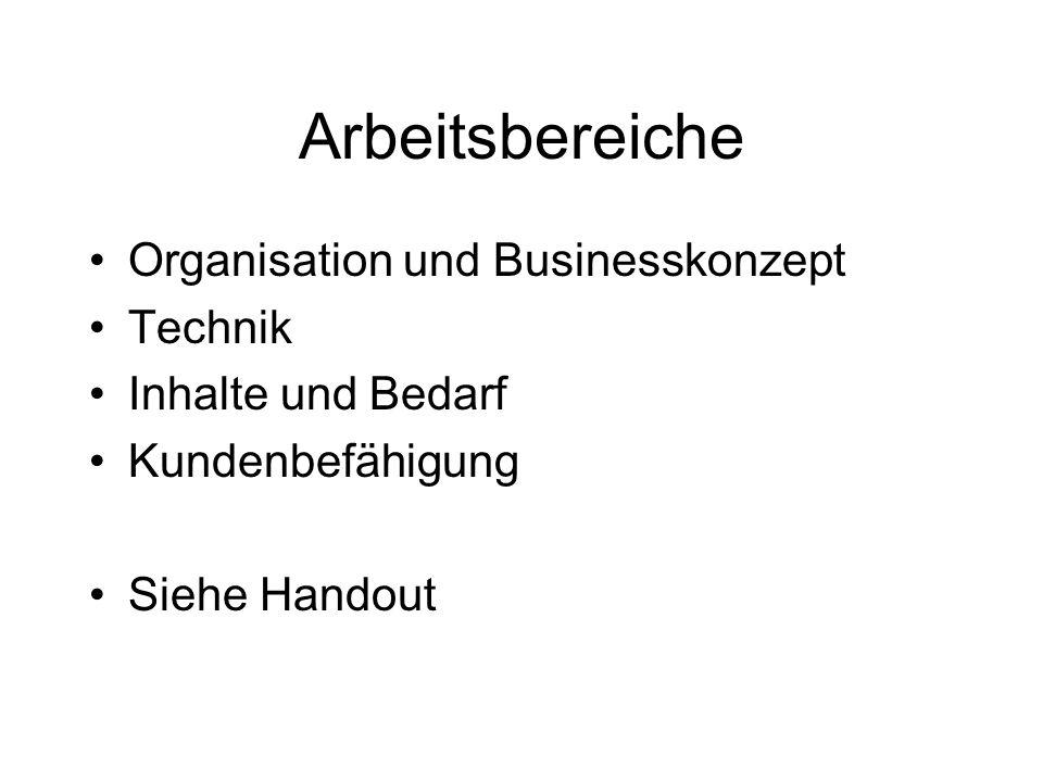 Arbeitsbereiche Organisation und Businesskonzept Technik Inhalte und Bedarf Kundenbefähigung Siehe Handout